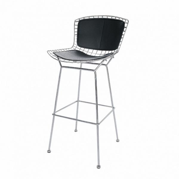 Барный стул Bertoia с кожаной спинкой