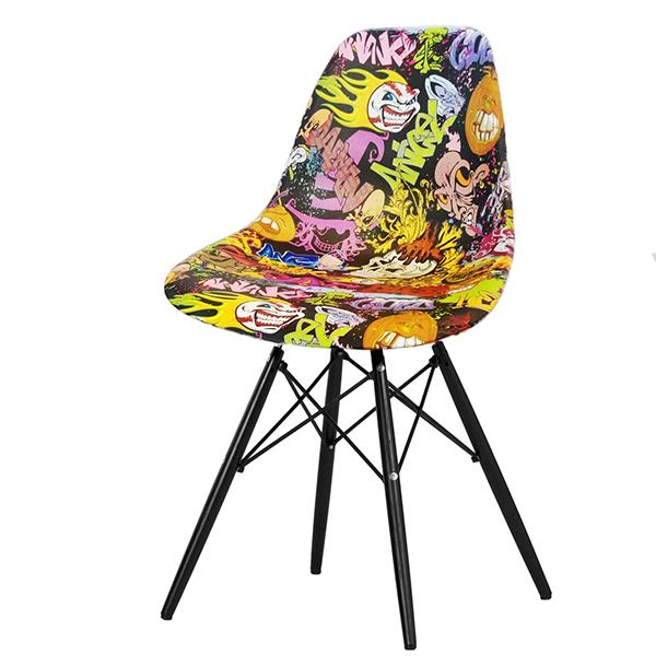 Стул Eames black legs (pop art)