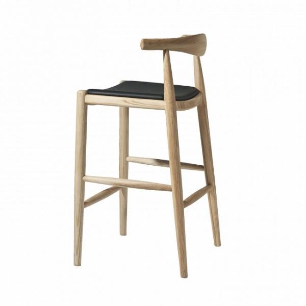 Барный стул Elbow с кожаным сиденьем