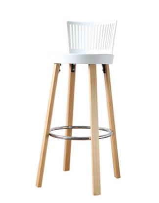 Белый деревянный барный стул Sechuan