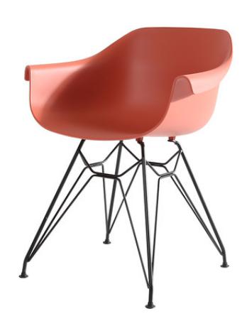 Оранжевый пластиковый обеденный стул Sechuan