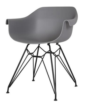 Серый пластиковый обеденный стул Sechuan