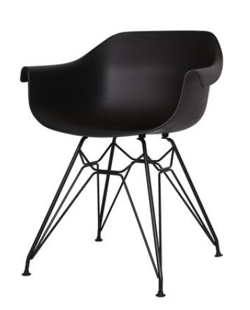 Черный пластиковый обеденный стул Sechuan